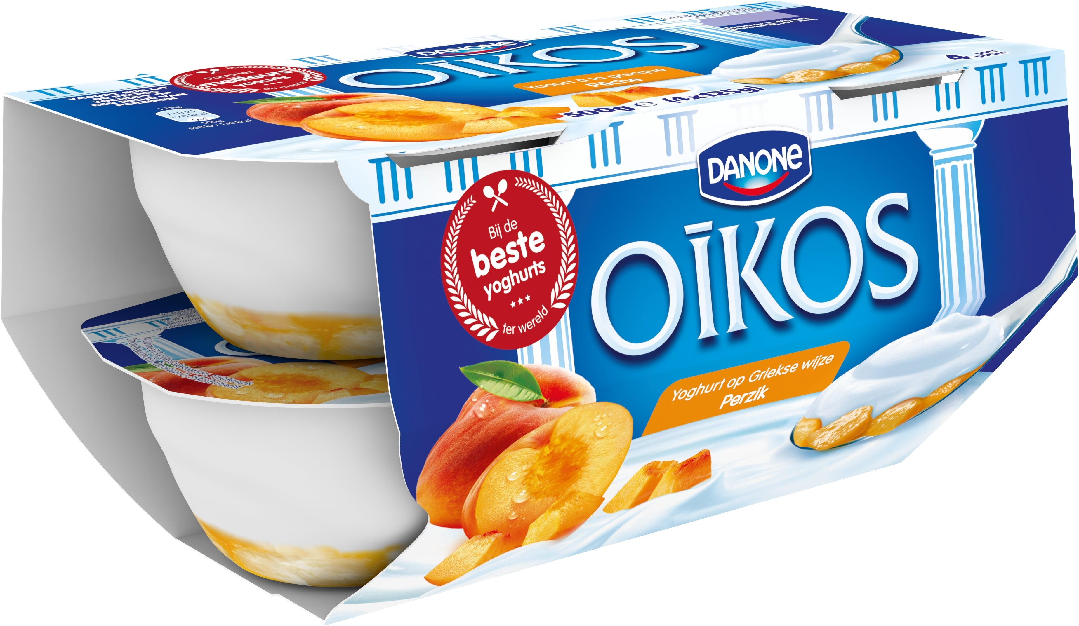 Oikos Yoghurt Vol Perzik 4x125g