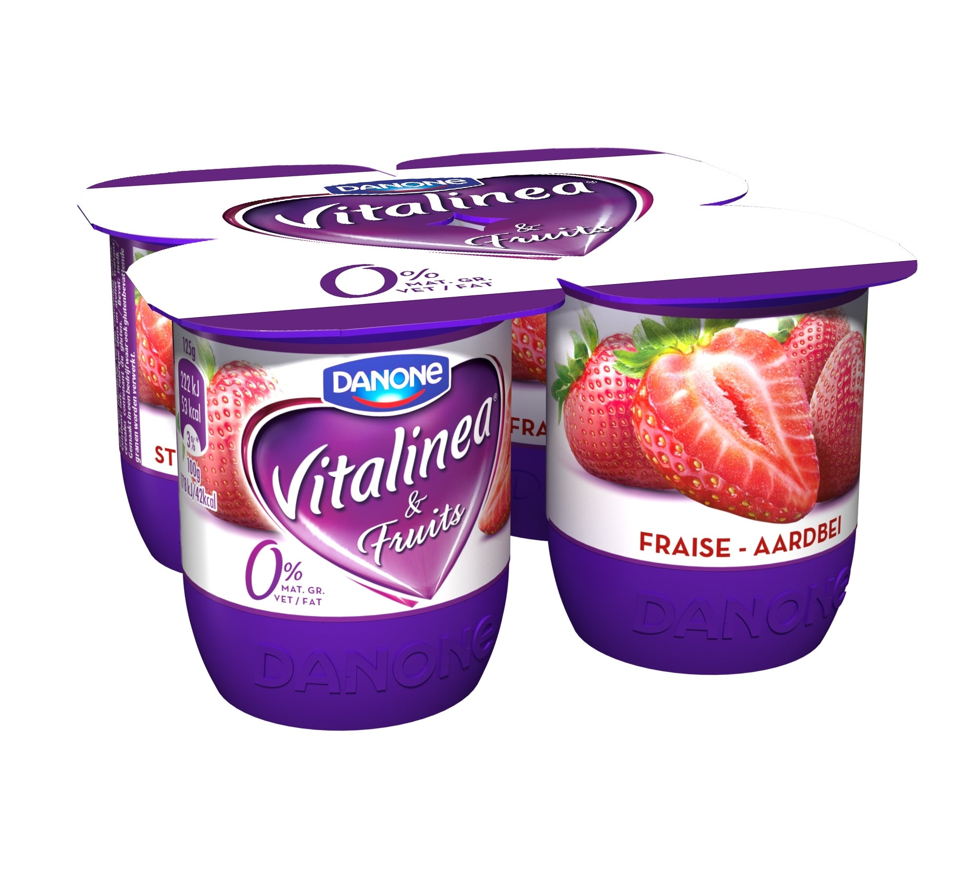 Vitalinea Yoghurt Aardbei 0% 4x125g
