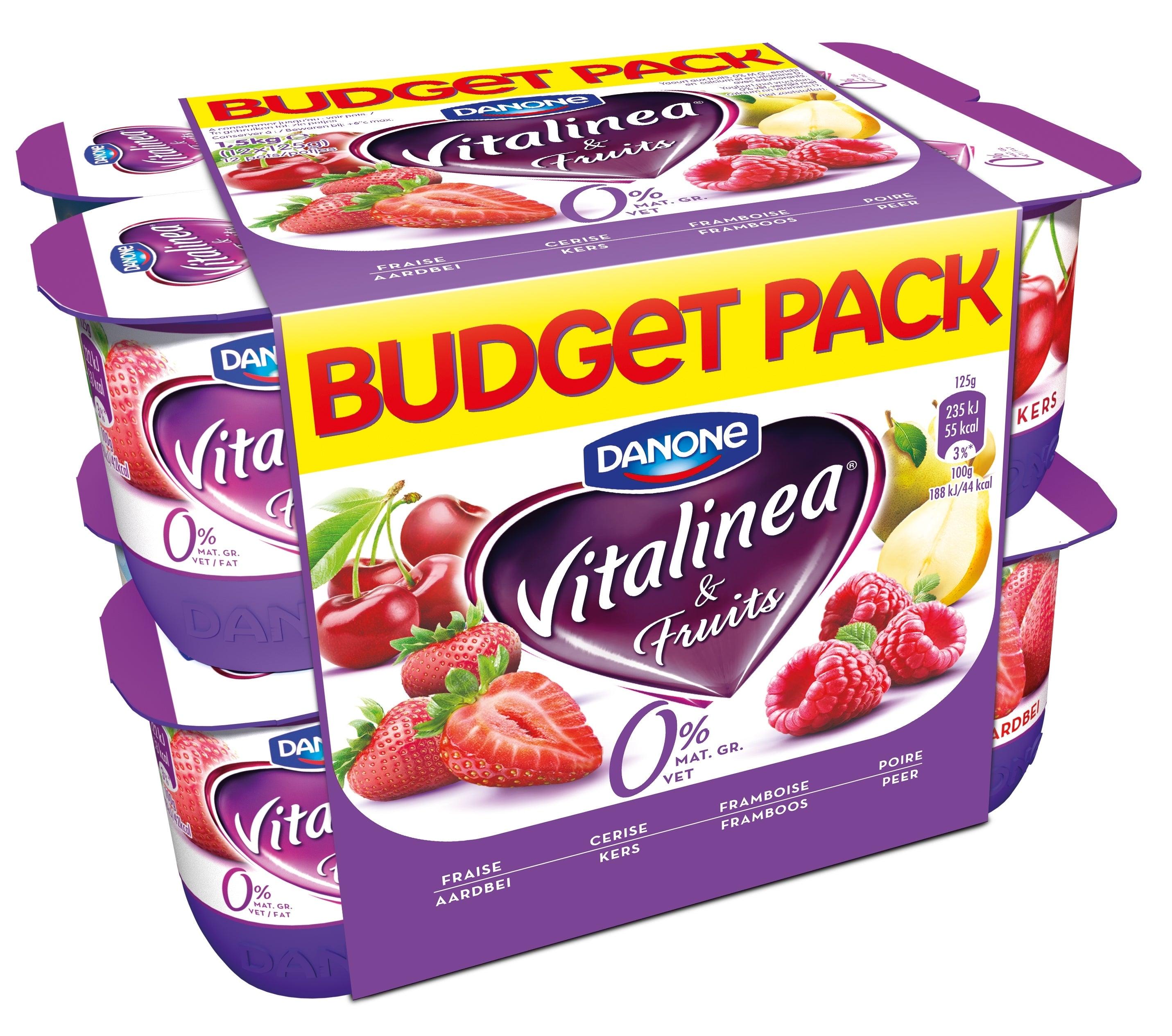 Vitalinea Yoghurt met vruchten 0% 12x125g