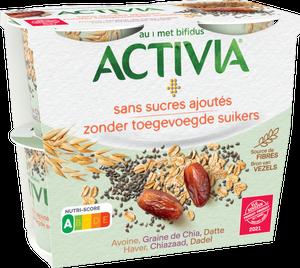 Activia Sans Sucres Ajoutés - Avoine, Graine de Chia, Datte