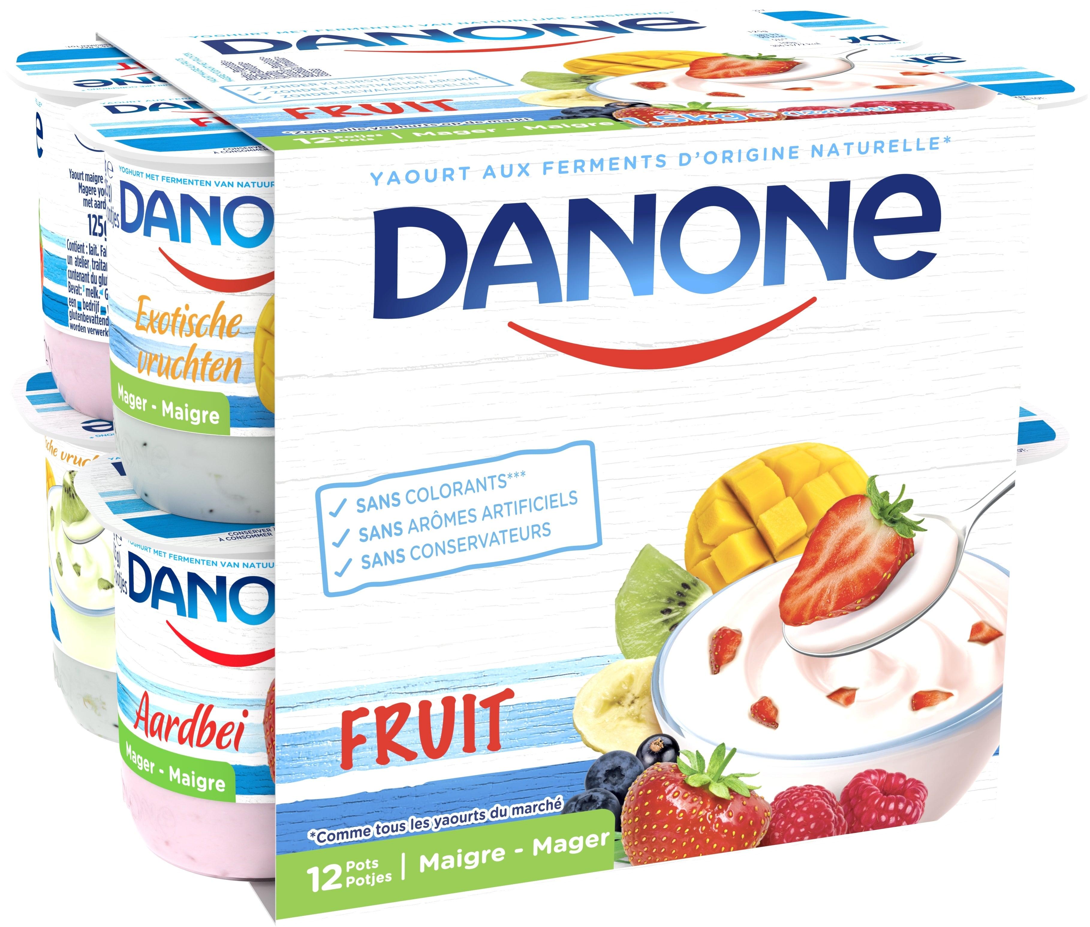 Danone Magere Yoghurt 12x125gr met Vruchten