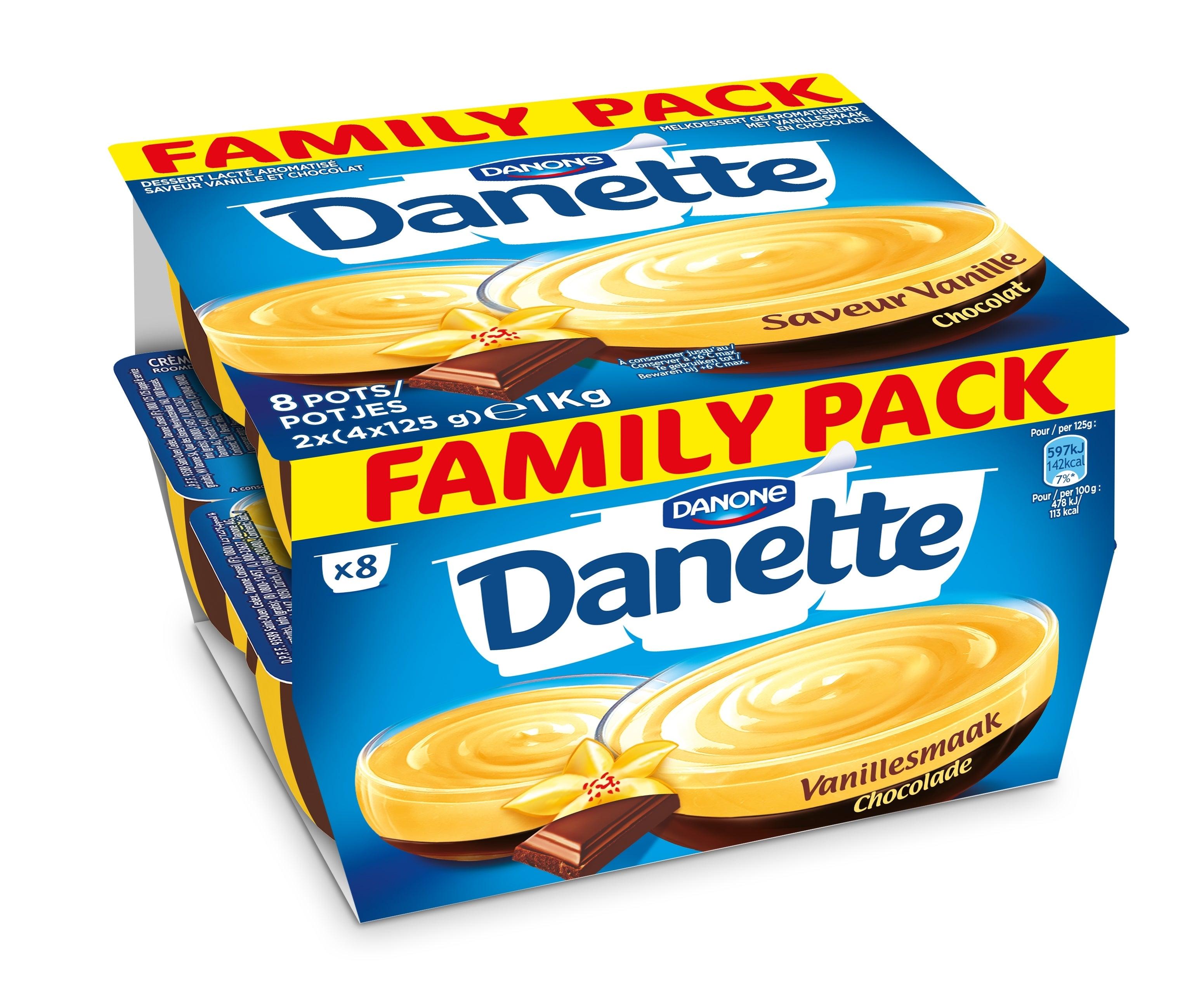 Danette creme dessert 8x125 vanille et chocolat