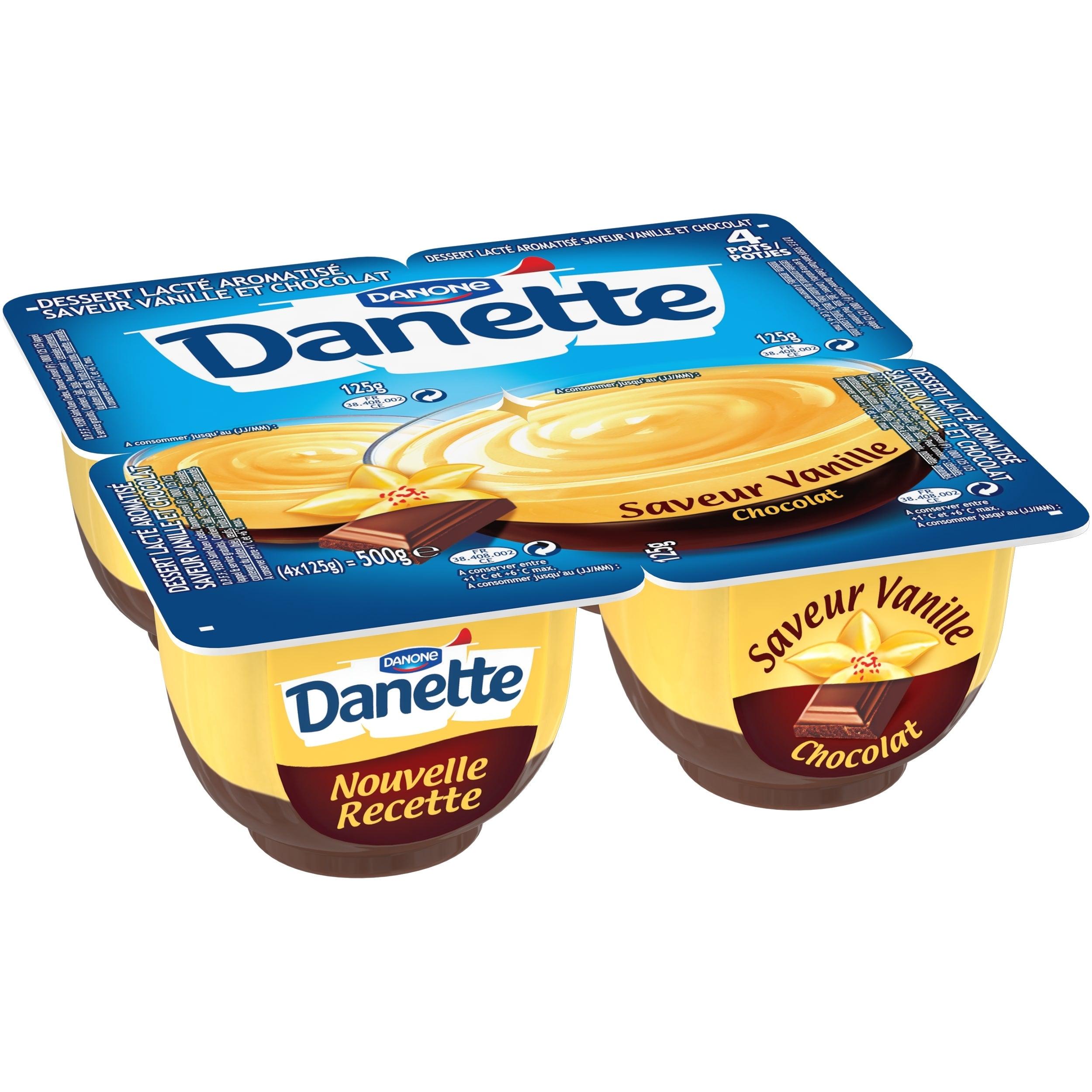 Danette creme dessert 4x125g vanille et chocolat