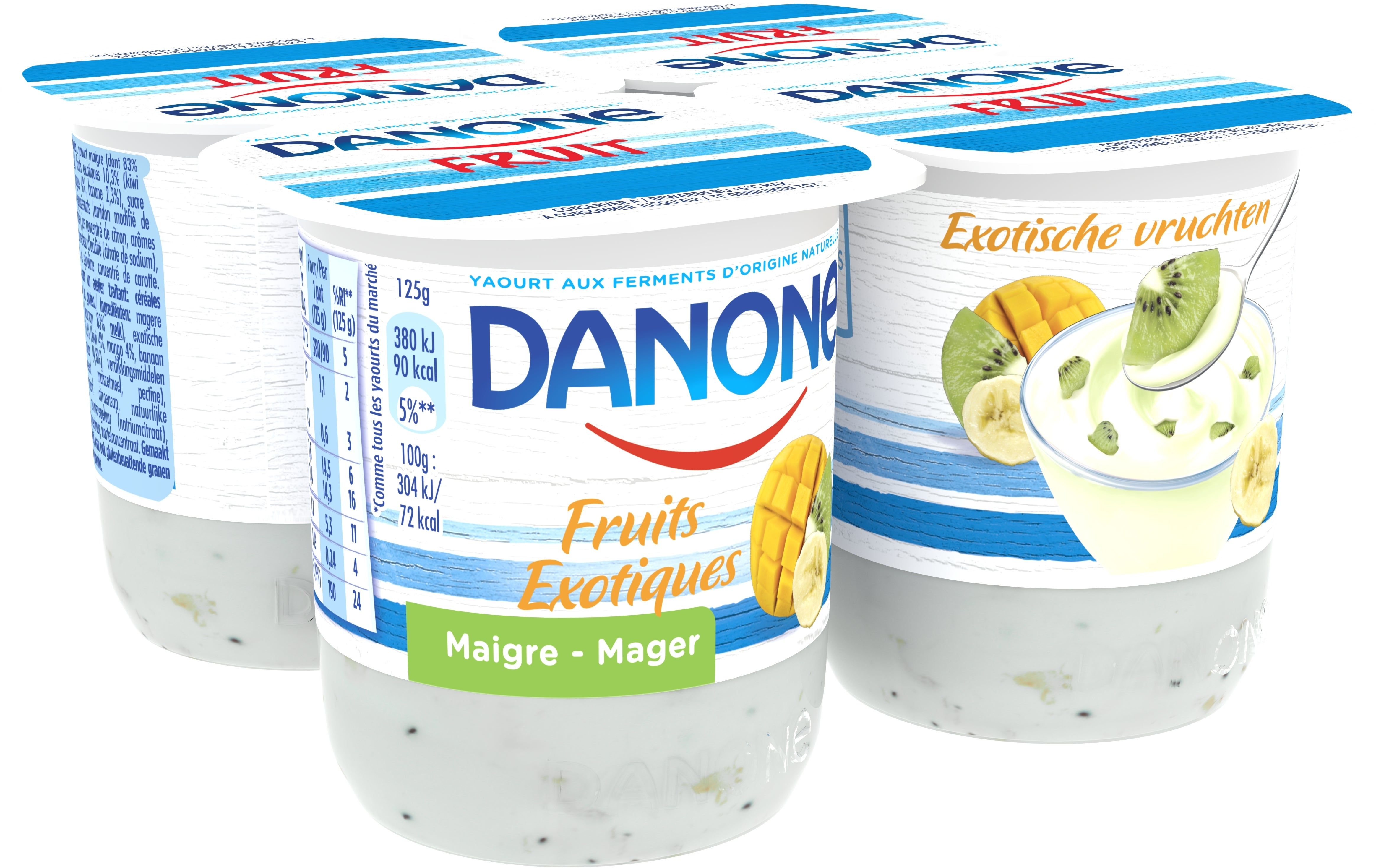 Danone Yaourts maigre 4x125gr aux fruits exotiques