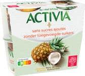 Activia Zonder Toegevoegde Suikers - Ananas, Kokosnoot