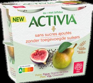 Activia Sans Sucres Ajoutés - Poire, Figue, Graines de Chia