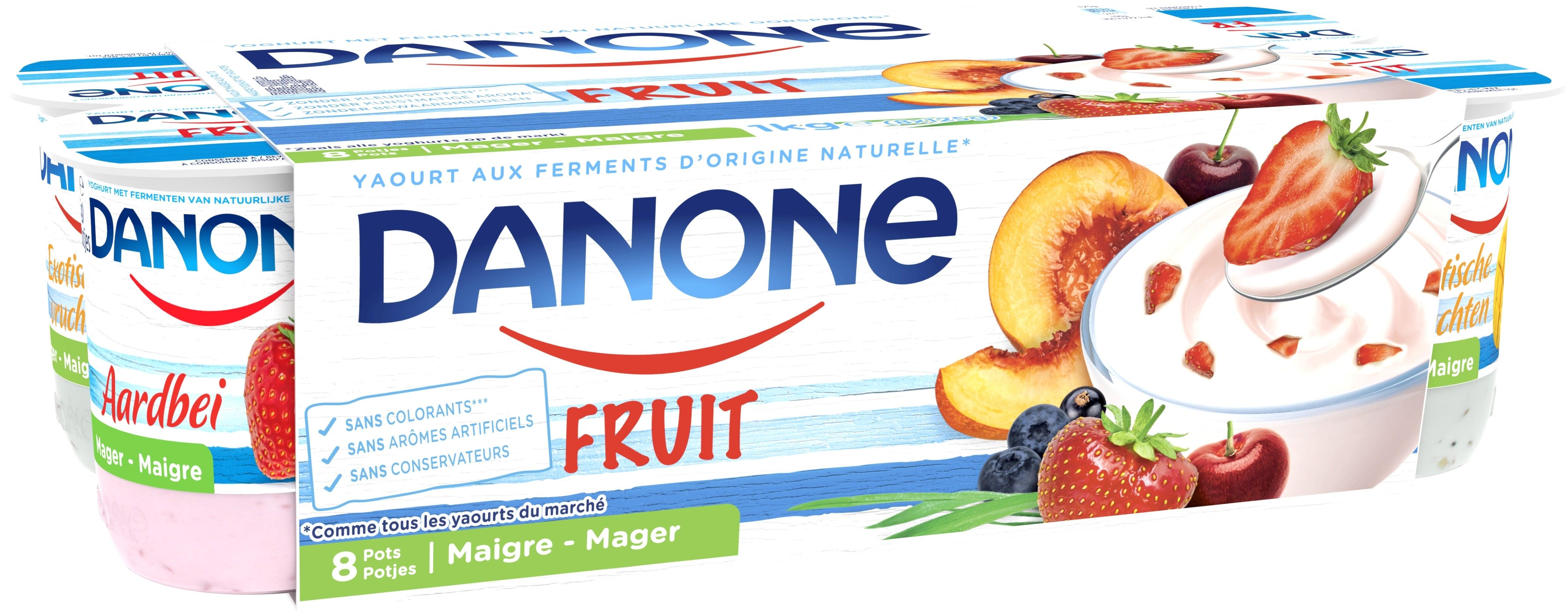 Danone aux Fruits - Pêche Fraise Cerise Myrtille