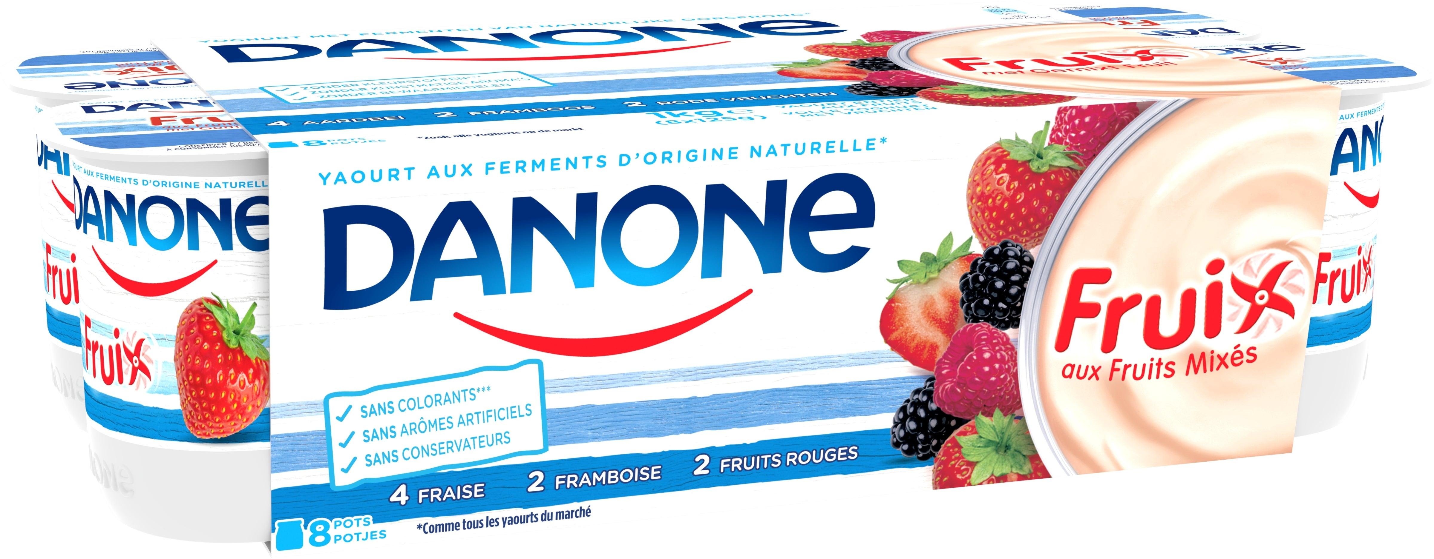 Danone Fruix Yaourt Entier 8x125gr Fruits Rouges