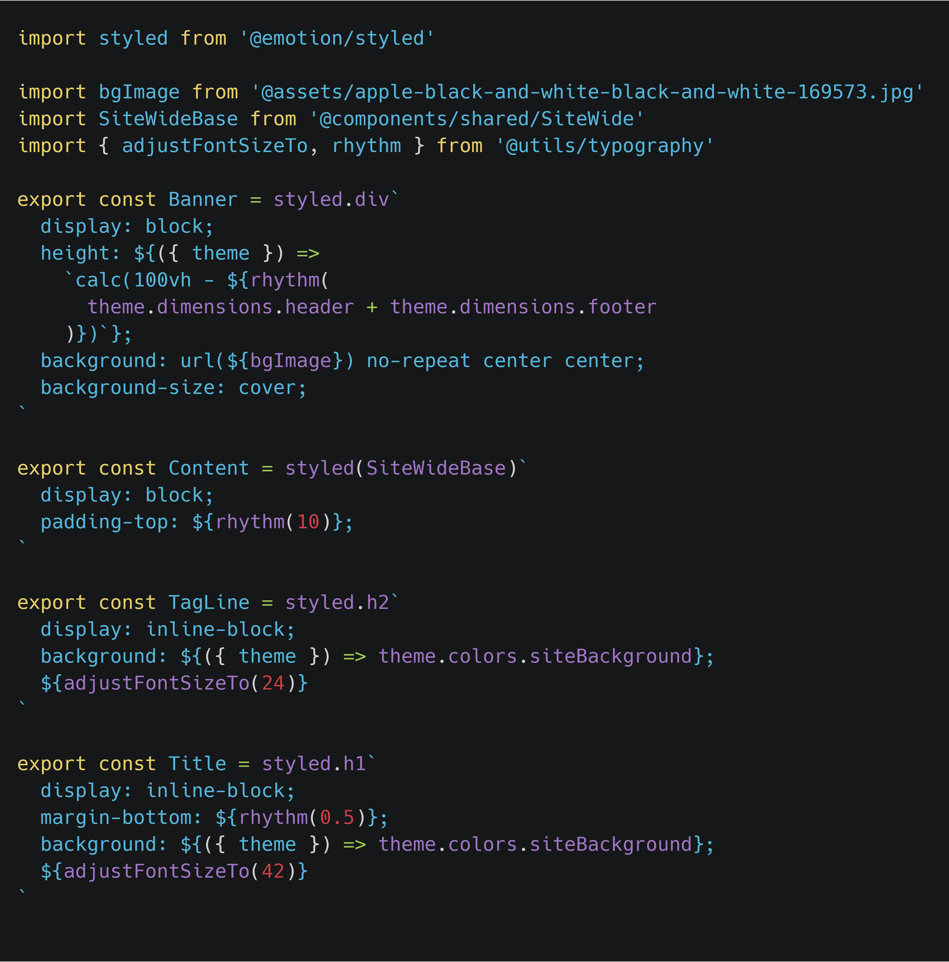 Decorative React code