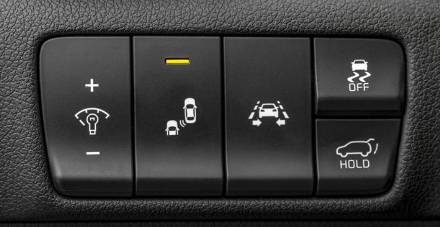 button for blind spot detection system in car