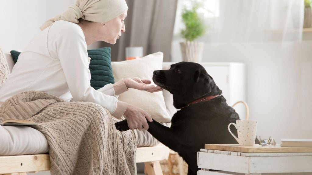 sick older woman at home being comforted by dog