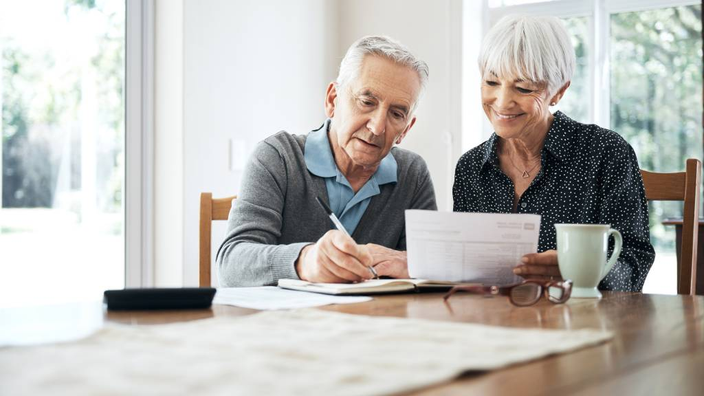 Older couple planning a funeral