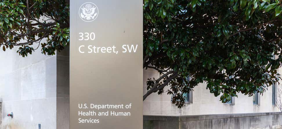 Closeup shot of the U.S. Department of Health & Human Services (HHS) sign at its headquarters building in Washington,.