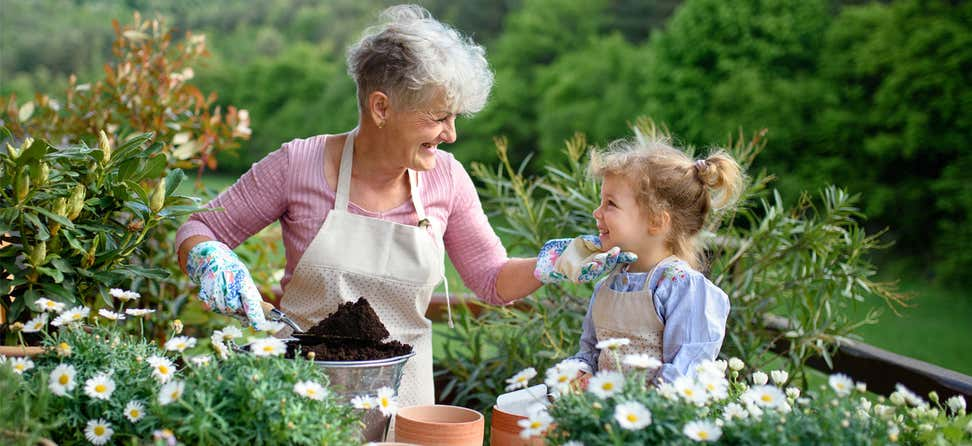A senior Caucasian woman is out in her garden with her granddaughter.