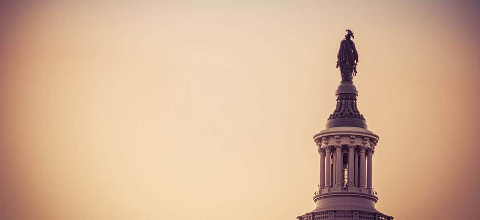 The statue of freedom on the top of the dome of the U.S. Capitol in the morning light.