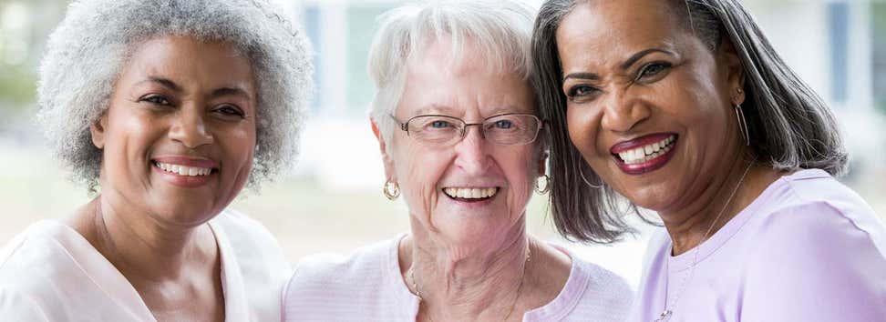 Group of diverse older women
