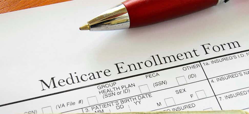 A close up shot of a Medicare enrollment form.