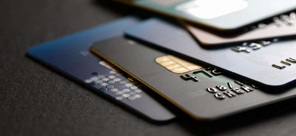 A close up shot of a stack of credit cards.