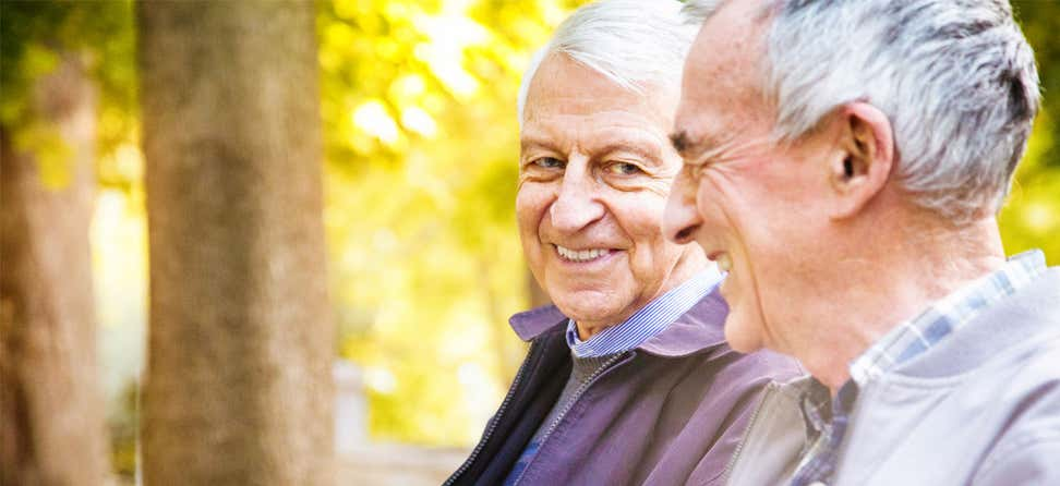 A senior Caucasian gay couple are laughing together as they take a stroll through the park.