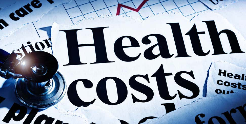 Graphic showing rising costs of health care and stethoscope