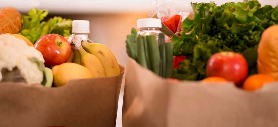 A closeup shot of two paper bags of fresh produce and other groceries atop a counter.