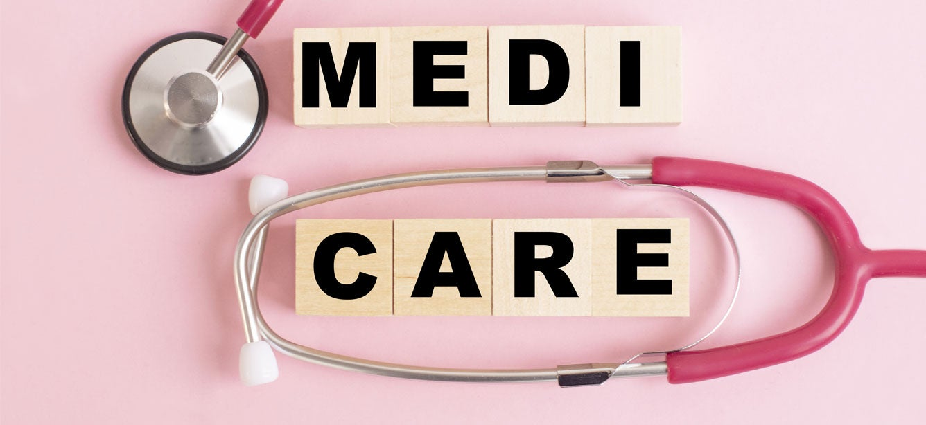 Medicare written in blocks with stethoscope