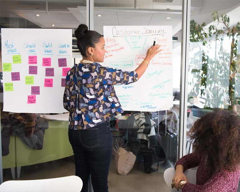 A Black female professional is brainstorming at white board with sticky notes with other work colleagues.