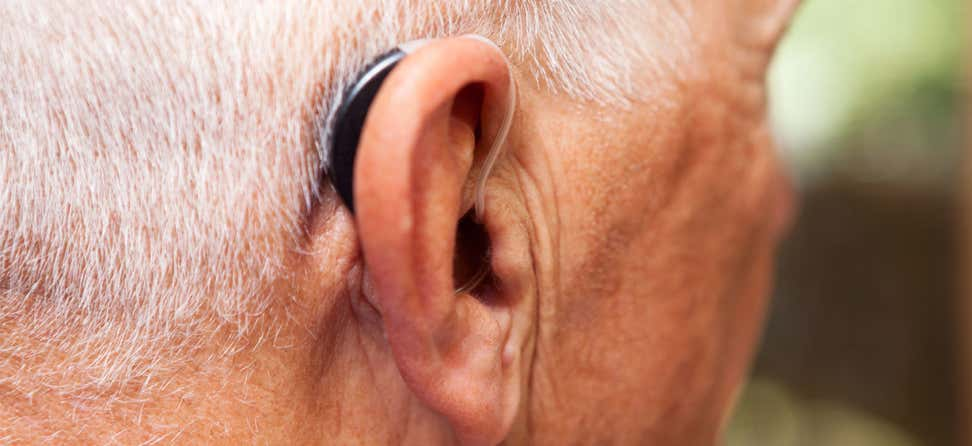 An up close shot of a senior man's hearing aid.