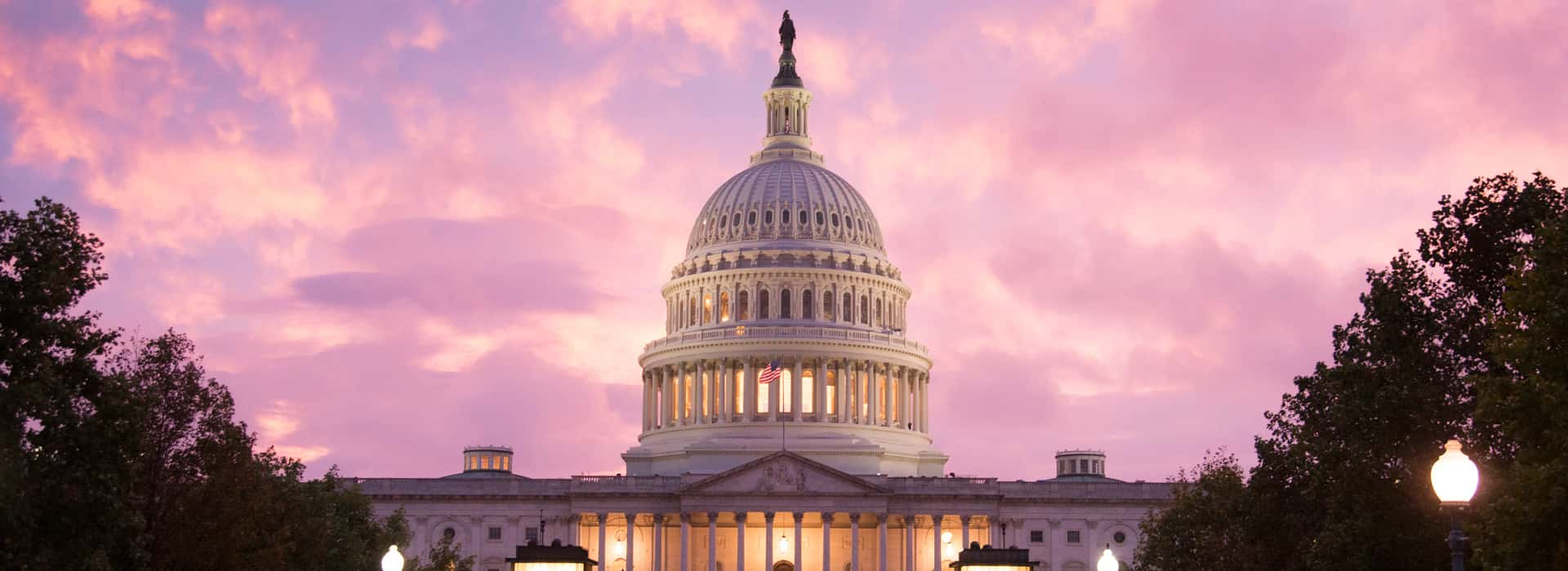 An evening/dusk shot of the U.S. Capitol dome.
