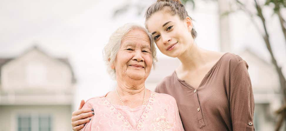 Senior Asian woman with granddaughter
