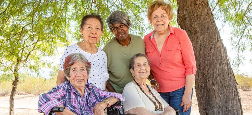 A group of five older women smile for a picture under a tree.