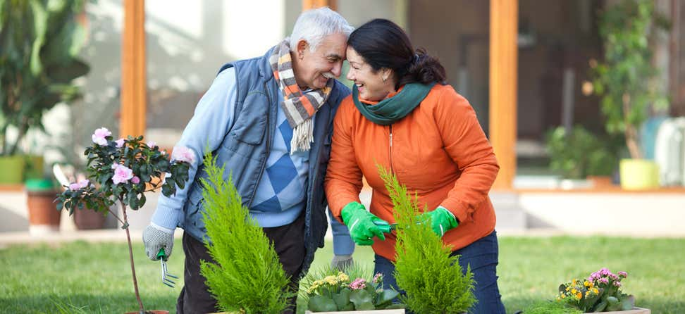 A senior couple is gardening together in front of their house.