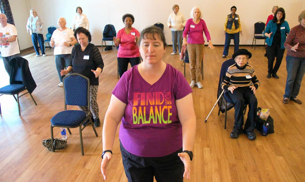 Balance class-diverse group of older adults-2017 Falls free photo contest-Honorable-Mention