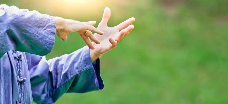 A senior woman's hands can be seen upclose doing Tai Chi Chuan, a Chinese martial art.